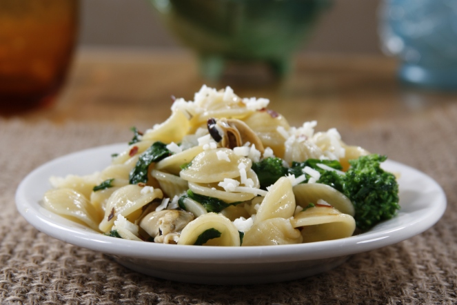 DEMO RECIPE - Barilla® Orecchiette with Rapini, Mussels and Pecorino Romano Cheese